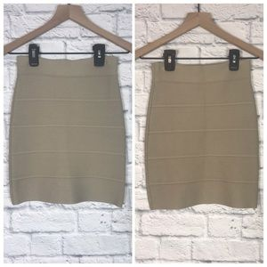 BCBG MaxAzaria Tan Cream Ribbed Mini Skirt Sz XS